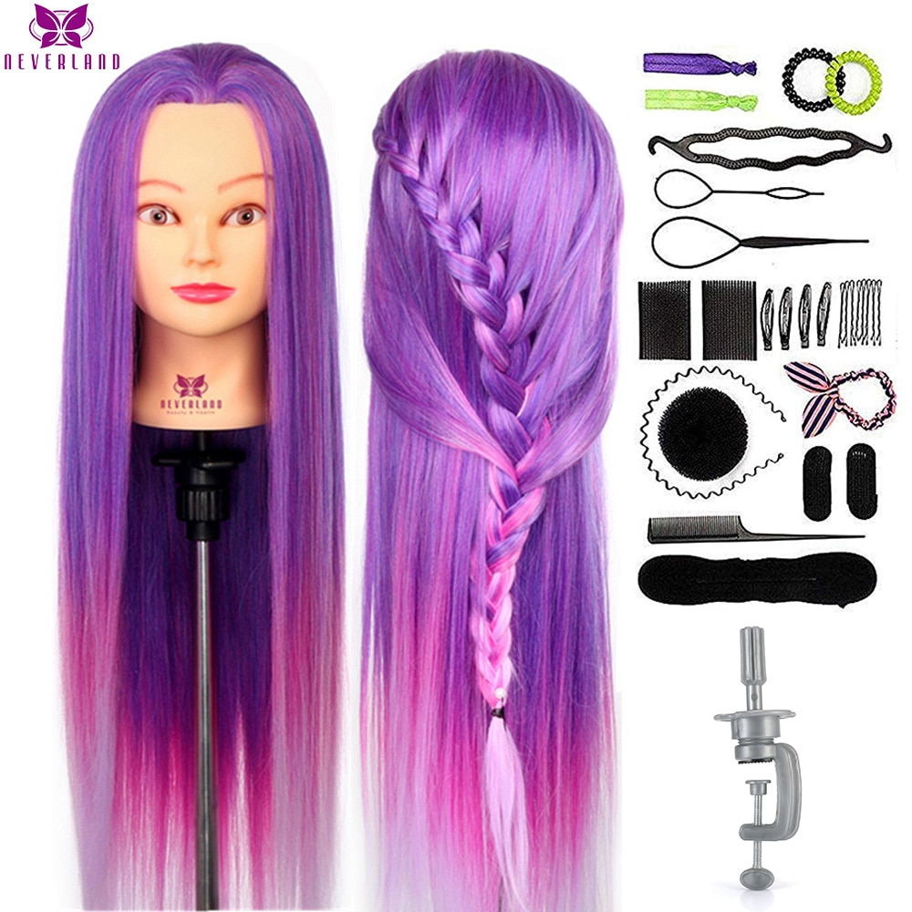 NEVERLAND 30 Inch Colorful Mannequin Head Purple Rainbow Long Hair Training Head Professional Hair Styling PracticeDoll Heads