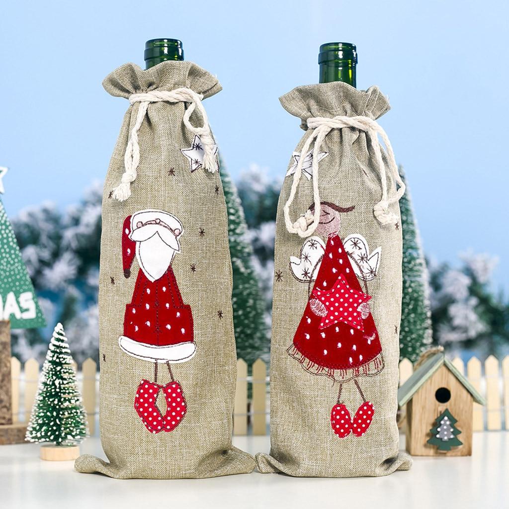 Conjunto navideño para botellas de vino, muñeco de tela de franela, decoración...