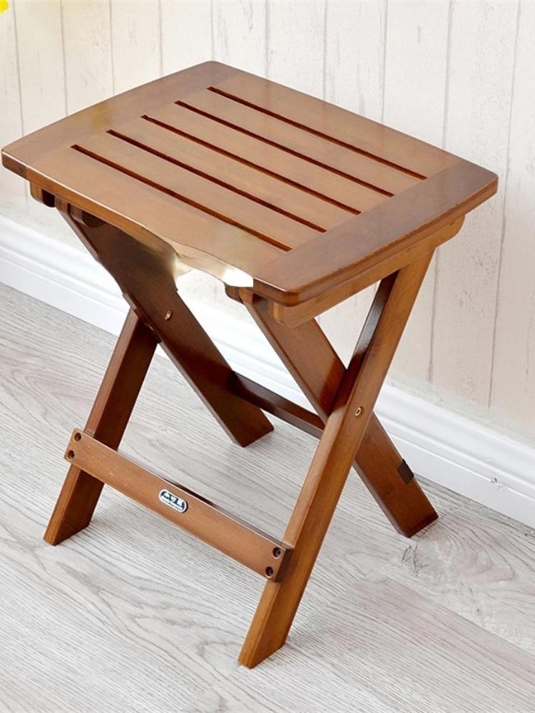 Taburete plegable de bambú para pesca al aire libre moderno taburete cuadrado de madera solida de alta calidad para el hogar