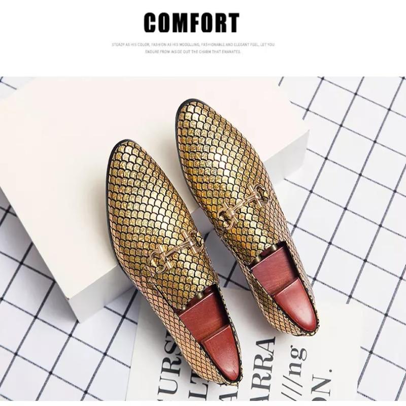 Men's Handmade Fish Scale Metal Decorative Set Wear Retro Classic Trend Fashion Business Casual Shoe
