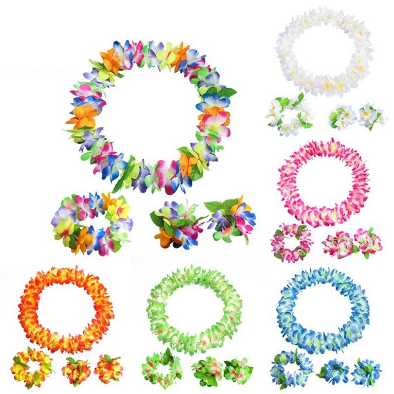 4 unids/set de fiesta hawaiana Artificial pulsera de guirnalda diadema collar flores Leis flores DIY guirnalda decoración de fiesta de cumpleaños