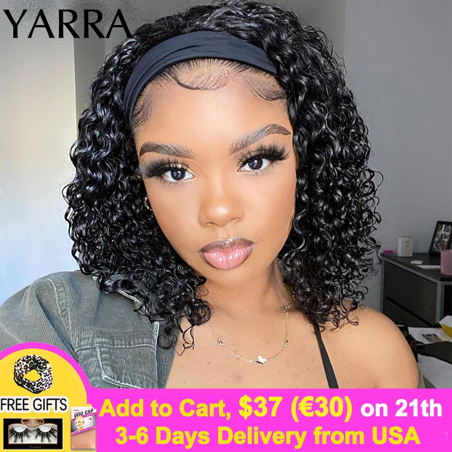 Brazilian Kinky Curly Headband Wig Human Hair 10 12 14 Inch Short Curly Wigs for Summer No Glue Easy to Go 150% Density Yarra