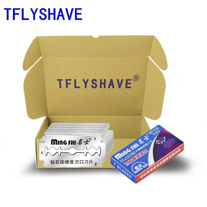 Tflyshave 5 pçs men double edge aço inoxidável ultra afiada lâminas de barbear de segurança para lâminas de barbear manual lâmina de substituição