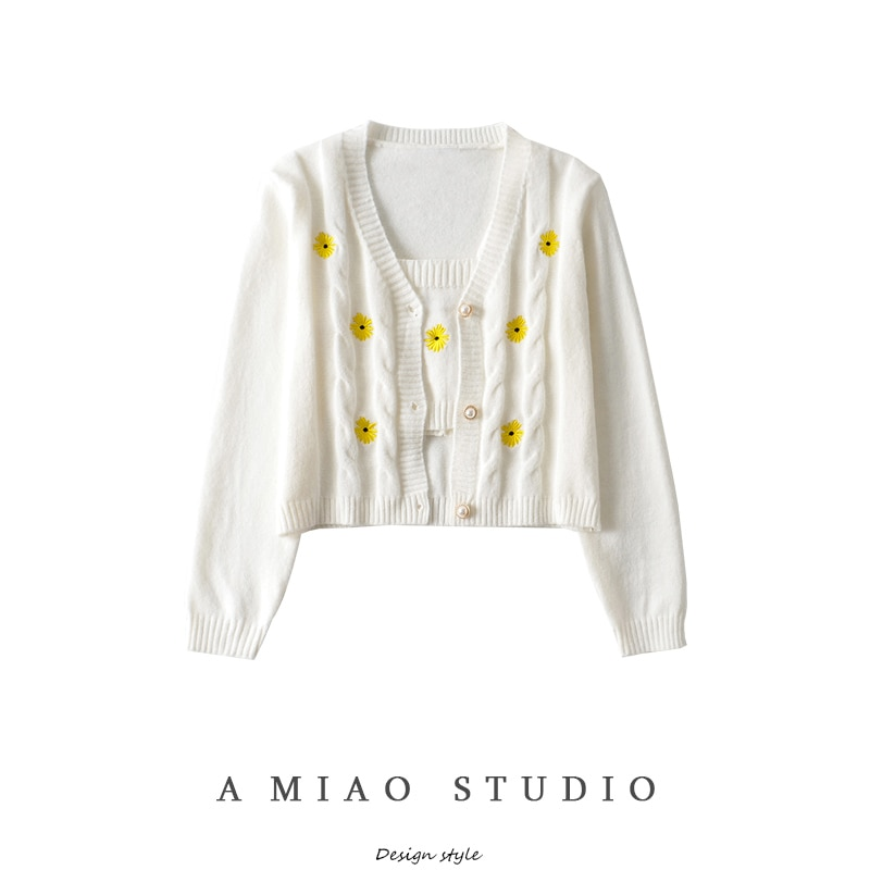 Romantic Little Daisy Embroidered Knitwear Autumn New Girly Style Slim-Fit Sling Sweater Cardigan Tw
