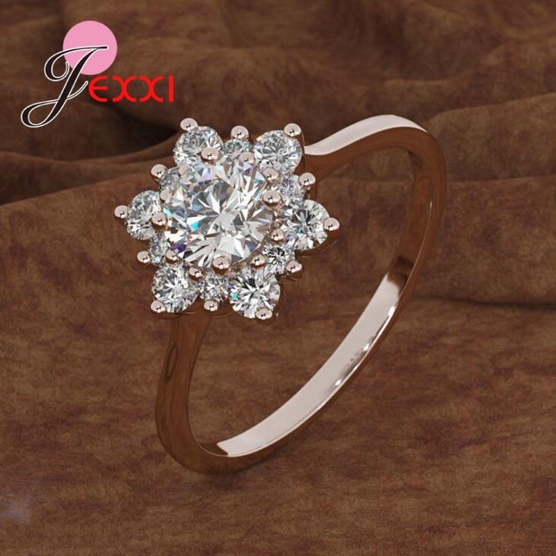 Свадебные обручальные кольца, 925 пробы, серебряные кольца для женщин, AAA циркон, снежинка, корейский тренд, ювелирные изделия, подарок на день...