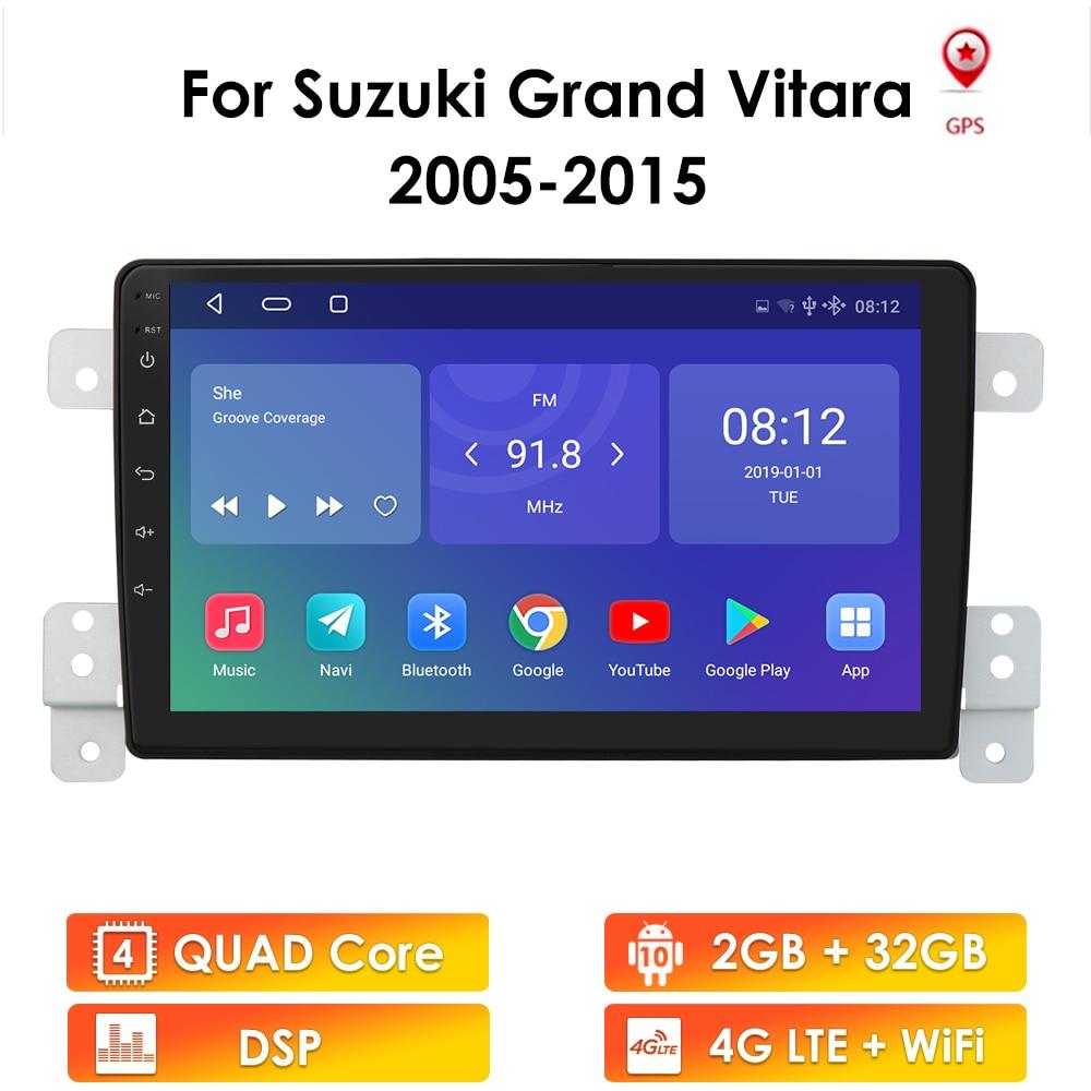 أندرويد 10 سيارة راديو لسوزوكي جراند فيتارا 2005-2015 إسكوا راديو الصوت غس مشغل وسائط متعددة 2Din 2.5D مشغل مزوّد بشاشة بت واي فاي
