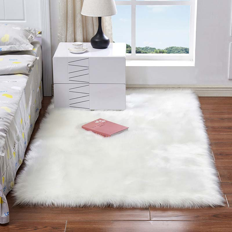 Gorąca sprzedaż Super miękka kudłata pluszowy dywan dywan dla pokoju gościnnego duża Super miękka Faux futro dywany do sypialni dzieci pokój na piętro w domu maty