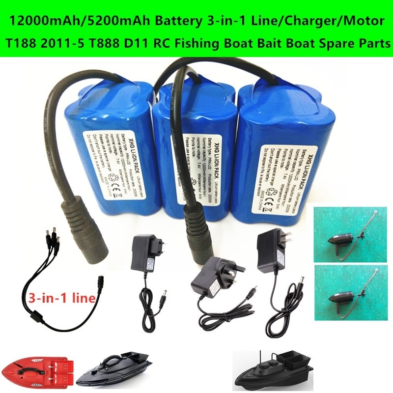 12000mAh/5200mAh Battery 3-in-1 Line/Charger/Motor Spare Parts For T188 2011-5 T888 D11 RC Fishing B