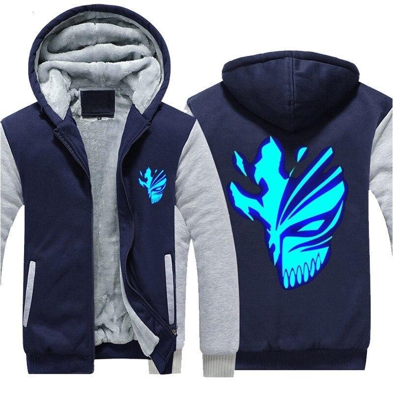 Invierno nuevo estilo Cosplay lejía luminosa sudaderas con capucha espesar forro de piel chaquetas calientes hombres Casual suelto Cardigan abrigos