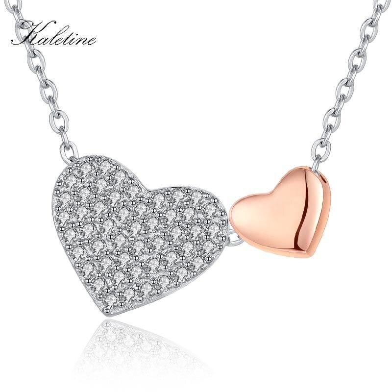 Женское Ожерелье с сердечком KALETINE подвеска в виде сердца из стерлингового