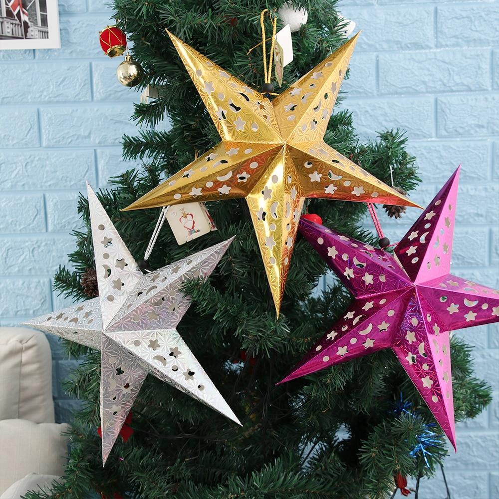 45/60cm colgante de papel estrella Festival Pantalla linterna de papel para boda cumpleaños Año Nuevo Fiesta DIY estrella colgante decoraciones Navidad