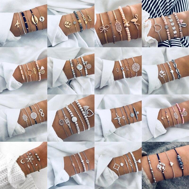 30 estilos Boêmio Pulseira Conjunto Para as mulheres Shell Estrela Mapa lótus abacaxi Coração cadeias de Contas de pedra Natural Pulseira de Jóias Boho