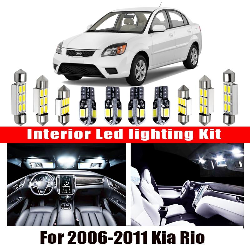 Para 2006-2011 Kia Rio Blanco accesorios de coche Canbus Error libre luz LED Interior lectura Kit de luz de mapa Dome lámpara de licencia