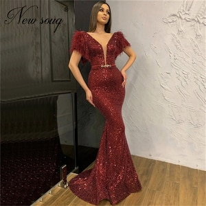 Feathers Sequined Sparkly Formal Dress Wine Red Deep-V Evening Dresses 2020 Custom Made Prom Dress For Saudi Arabia Dubai Gowns