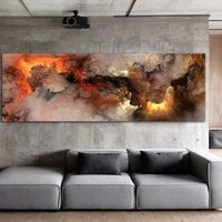 nordic poster orange white smoke texture abstract canvas wall pictures for living room bedroom painting mural modern simple room