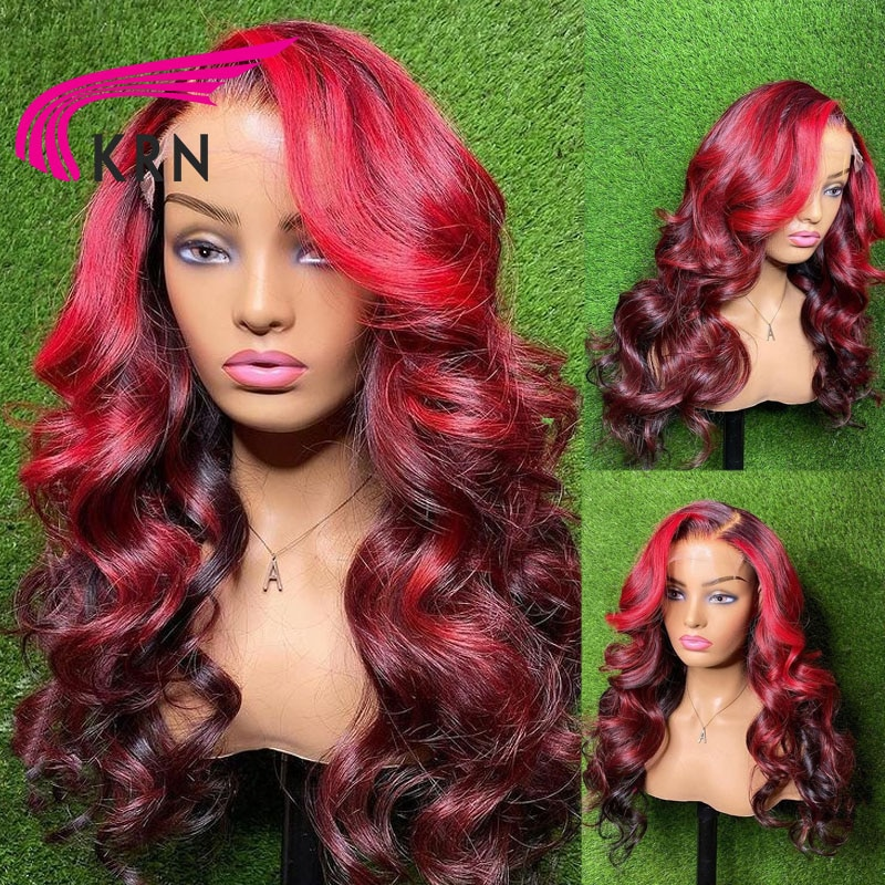 KRN Red 99J Colored Ombre Highlight Lace Frontal Wigs For Women Brazilian Human Hair 13x4 4x4 Lace Front Human Wavy Hair Wigs