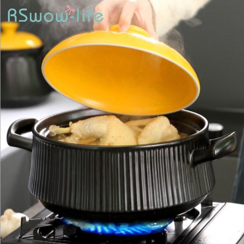 Fogão a Gás do Agregado Panela de Pedra Sopa para Utensílios Familiar Sopa Alta Temperatura Resistente Grande Capacidade Pote Saúde Cerâmica Panela Cozinha