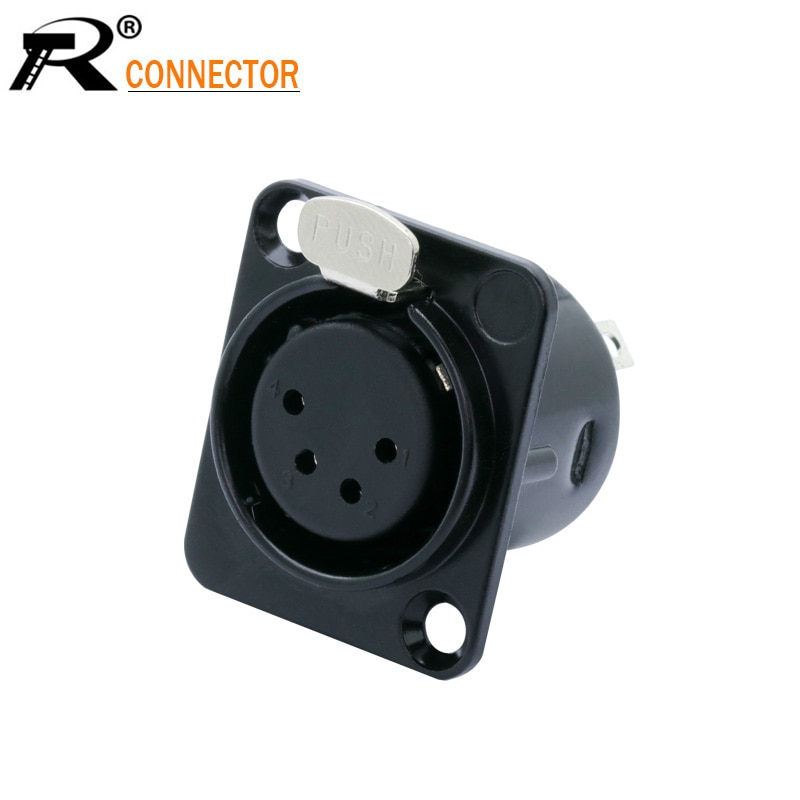 AliExpress - 1PC Metal 4 PIN XLR Female Chassis Connector Push-type XLR Panel Mount Wire Connector Audio Speaker Jack Socket 4pole Conector
