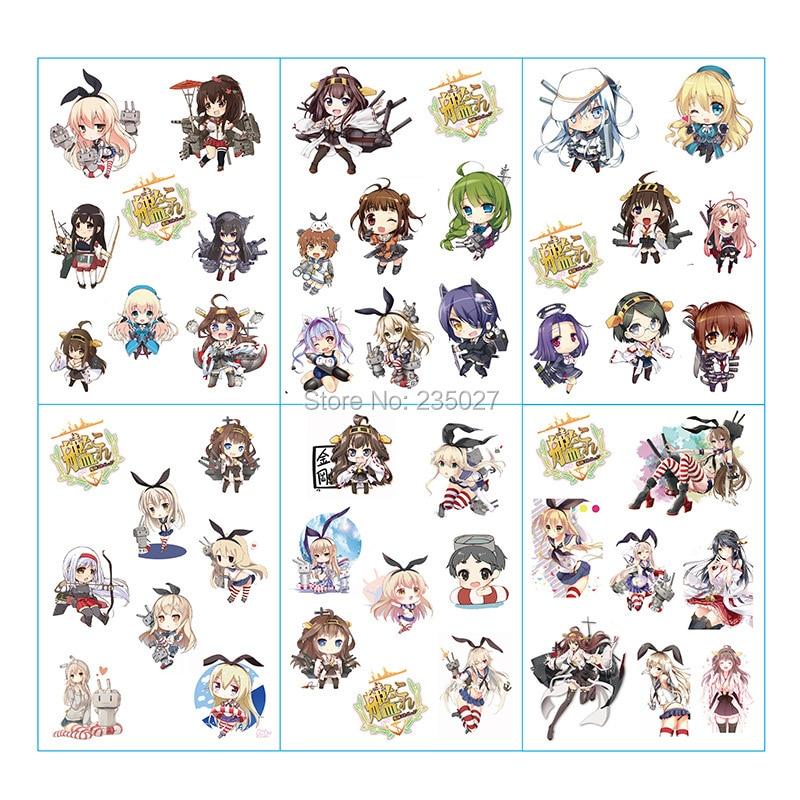 120 folhas lote anime kantai colecao adesivo fubuki akagi kaga mutsu sendai dos desenhos