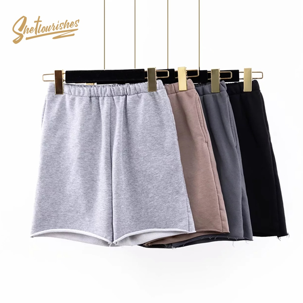 Sheflourifes, pantalones cortos lisos para mujeres, pantalones cortos retro Para motorista de cintura alta con bolsillos, pantalones cortos de gimnasio holgados de algodón gris vintage SFD1b