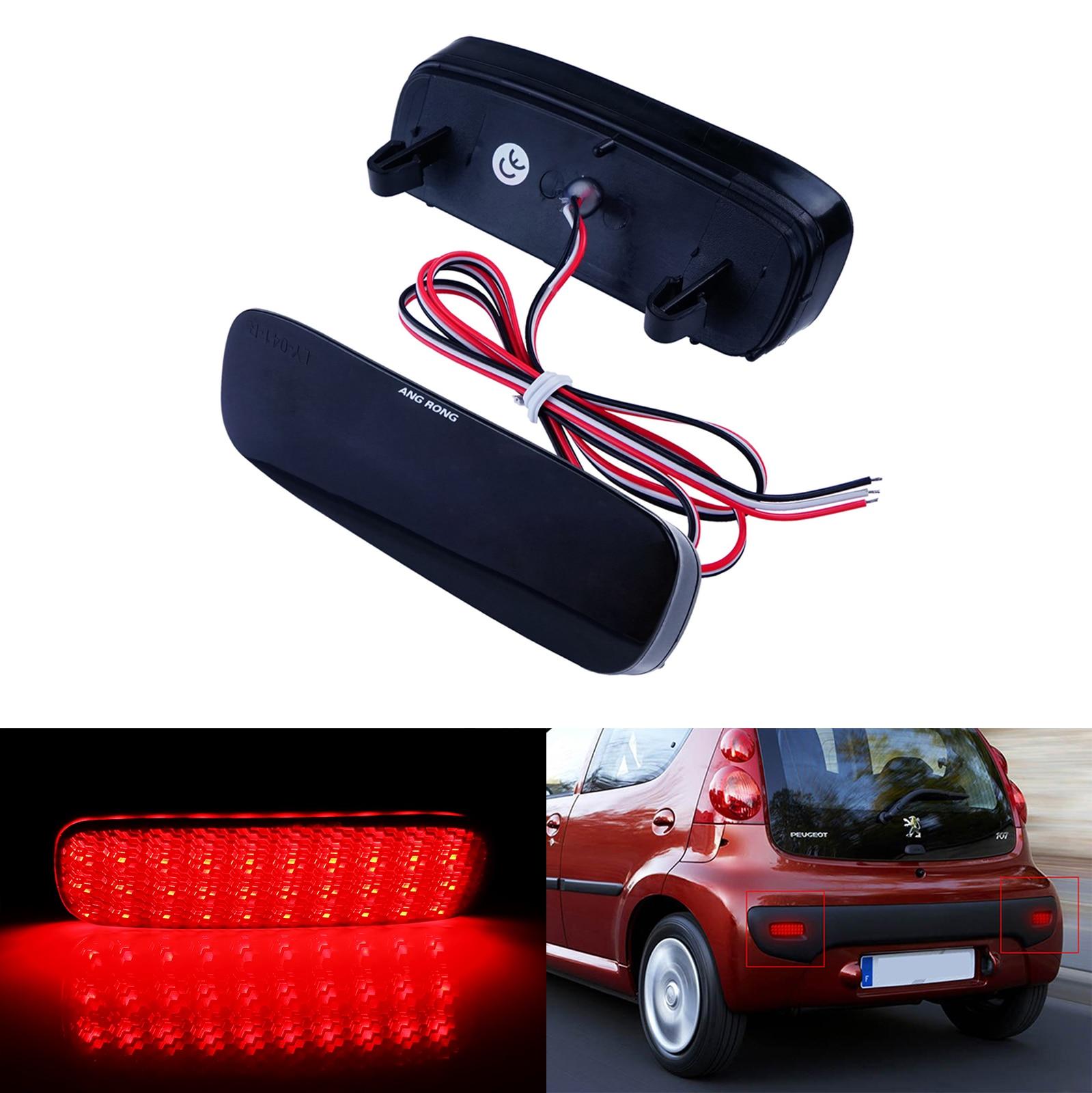 ANGRONG 2X Red LED Rear Bumper Reflector Light For Citroen C1 C5 Peugeot 107 206 607 Expert