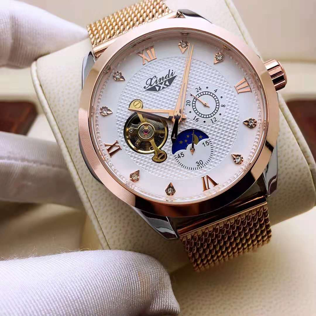 Men's and Women's Mechanical Watches Tourbillon Dial Day and Night Rotation Display Hollow Through Bottom Movement Transparent enlarge