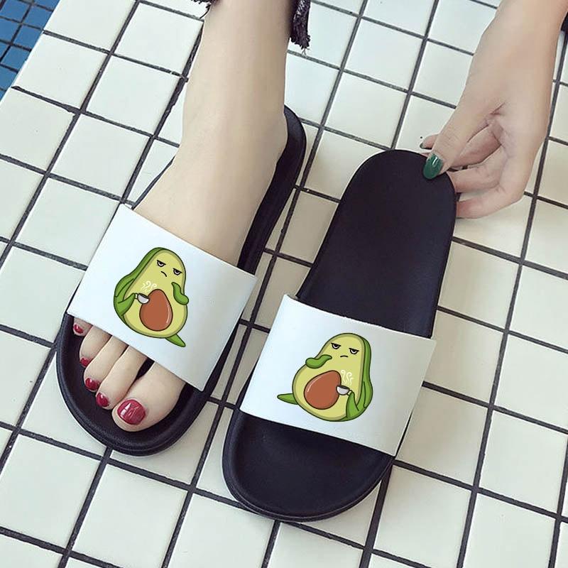 Women Shoes 2021 Kawaii Avocado Pattern Flat Slippers for woman Comfort Home Sandalias Beach Flip Fl