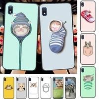 yinuoda cute pocket cat phone case for samsung a51 01 50 71 21s 70 31 40 30 10 20 s e 11 91 a7 a8 2018