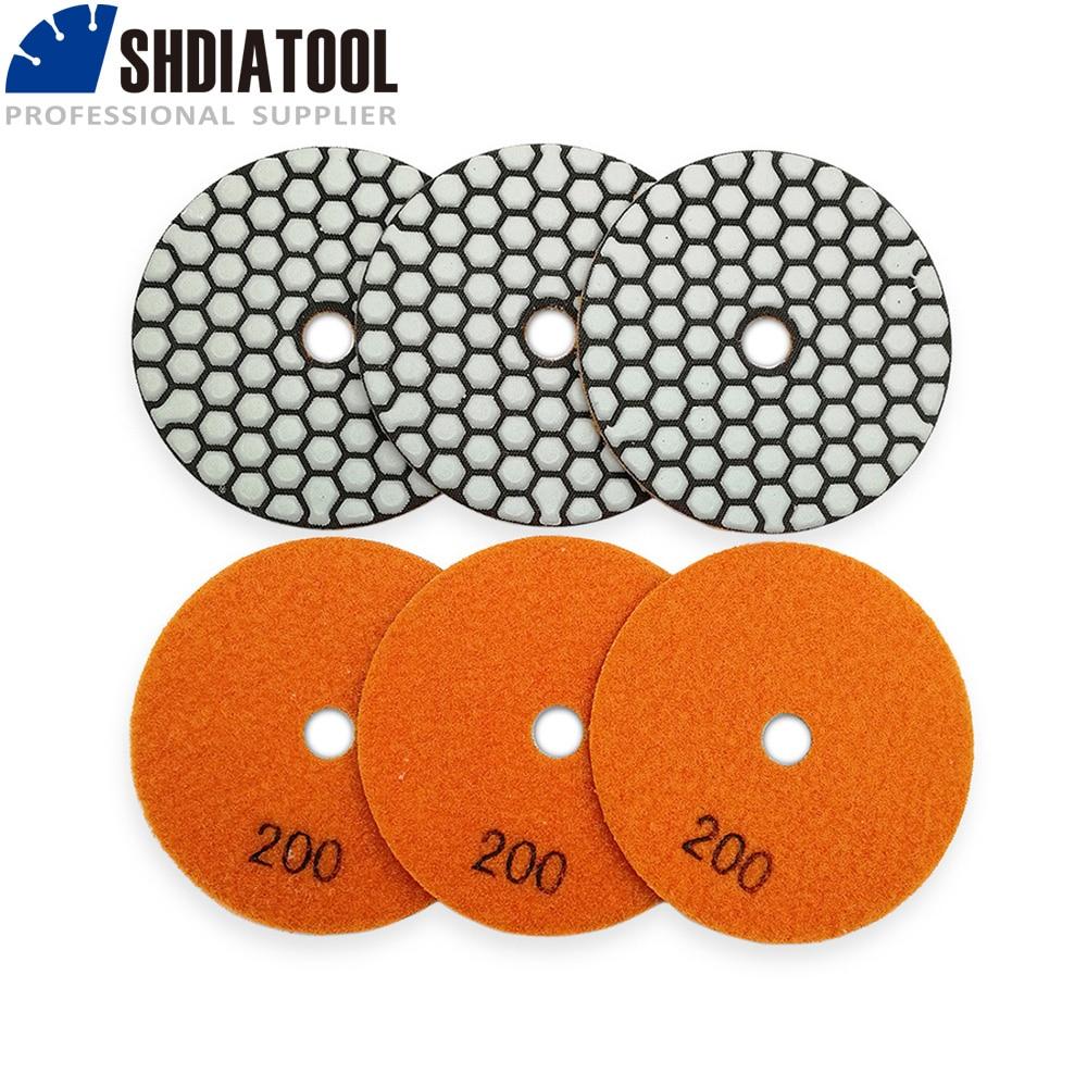 SHDIATOOL 6pcs  Diamond Flexible Dry Polishing Pad Granite & Marble Stone Sanding Disc  Resin Bond Polisher Pad недорого