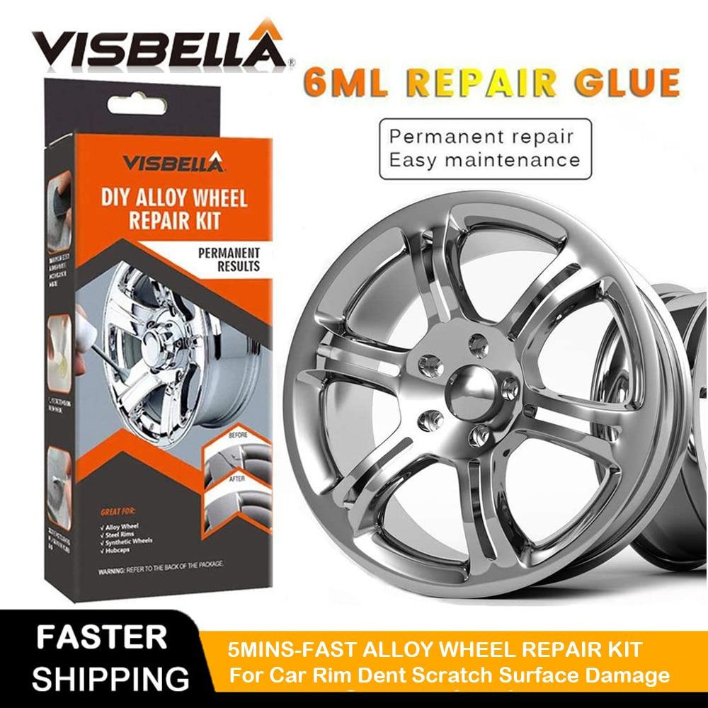 VISBELLA DIY Alloy Wheel Repair Kits Adhesive General Silver Car Auto Rim Dent Scratch Surface Damages Care Hand Tool Set