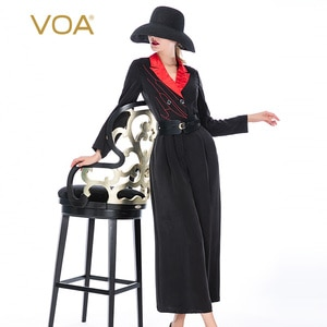VOA Black Distressed Silk Jumpsuit KE127 Lapel Red Line Double-breasted Office Lady Nine-point Jumpsuits for Women 2021 Elegant