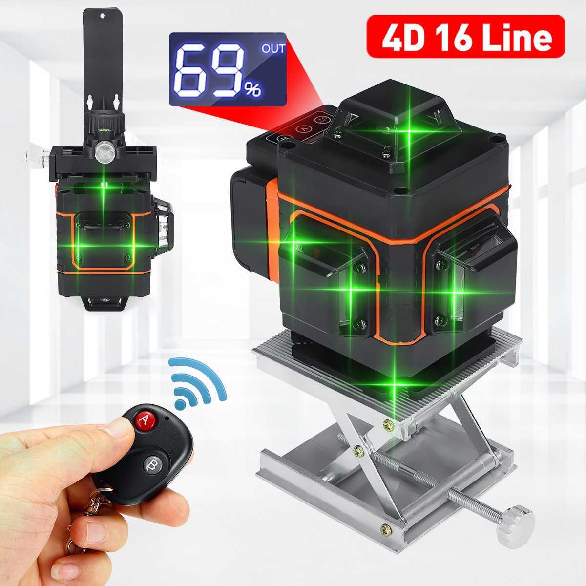 Linha de Nível Laser Verde Display Led Auto Nivelamento 360 ° Níveis Horizontal Vertical Cruz Controle Remoto 16 4d Luz
