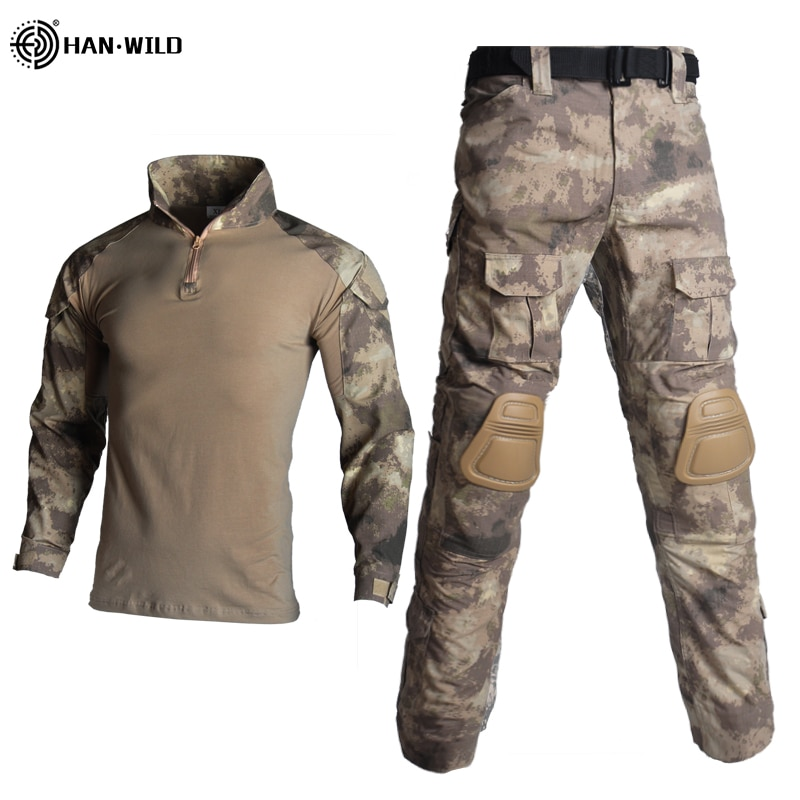 uniforme militar men tactical hunting clothing black python camouflage hunting clothes women army combat multicam shirt pants Army Military Tactical Suit ACU Special Forces Uniforme Militar Suits Hunting Military Combat Shirt + Cargo Pants Knee Pads