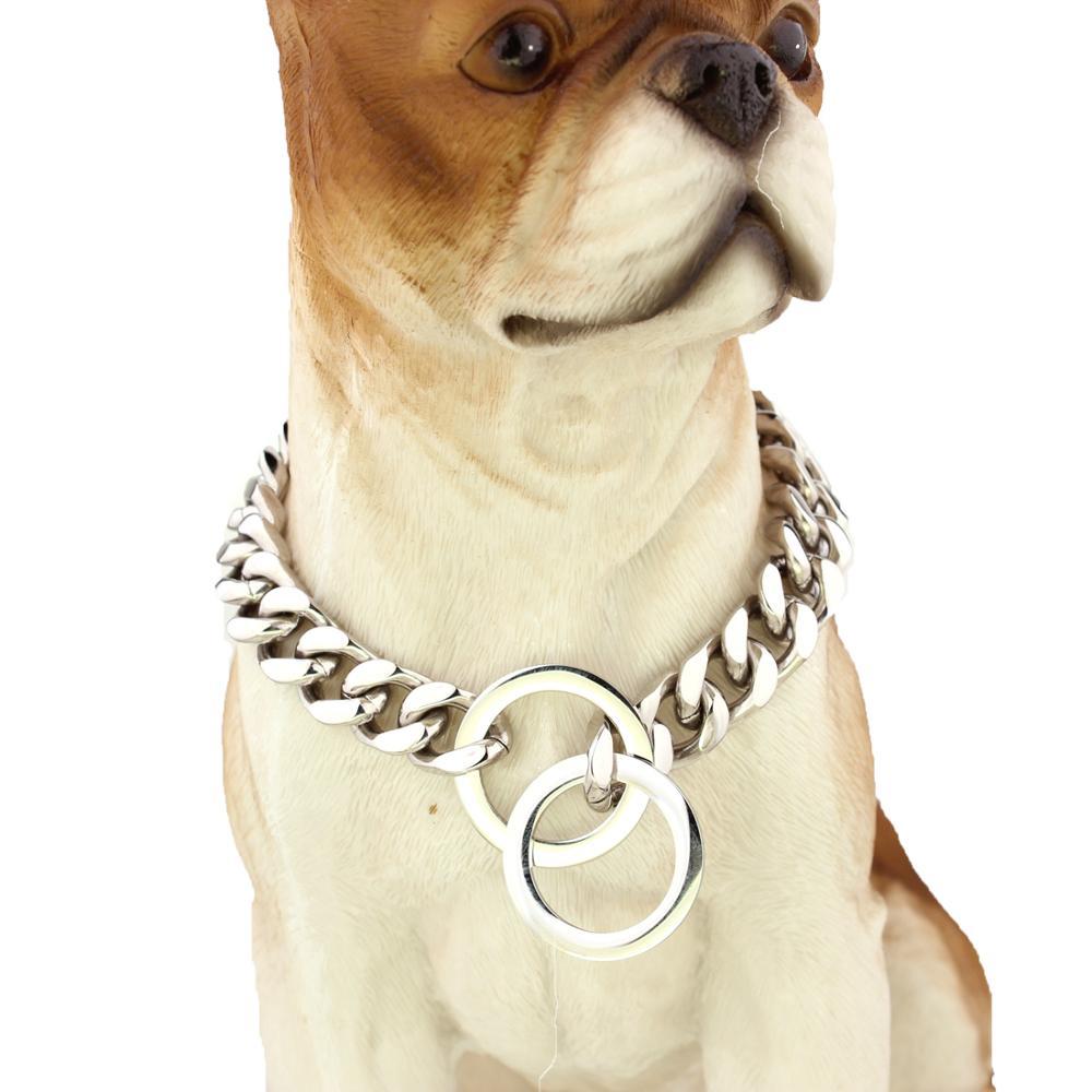 """Cadena de acero inoxidable de Color plata y oro fuerte de 14mm para perro mascota grande Pitbull Doberman Collar de entrenamiento gargantilla 12 """"-32"""""""