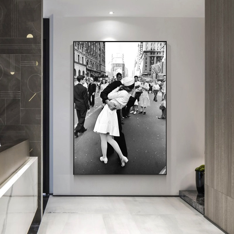 Cuadro de la Segunda Guerra Mundial de Century Kiss, póster artístico en lienzo e impresión de arte de pared, cuadros antiguos para la decoración del hogar de la sala de estar (sin marco)