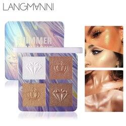 4 cores highlighter pó paleta shimmer rosto alto brilho em pó abrilhanter brilho contorno corretivo maquiagem cosméticos ferramenta tslm2