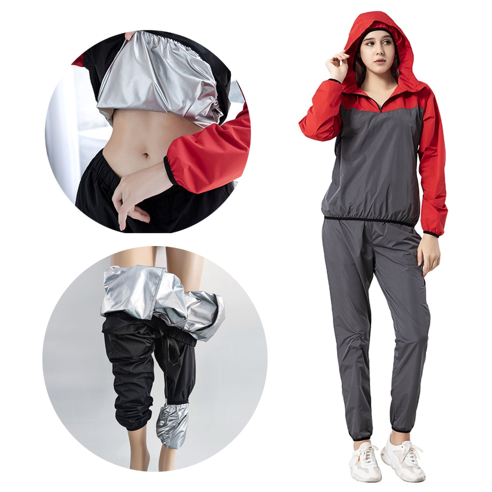Women's Hooded Gym Sportswear Silver-plated Top Sweaty Clothes Slimming Sweating Outdoor Running Clo