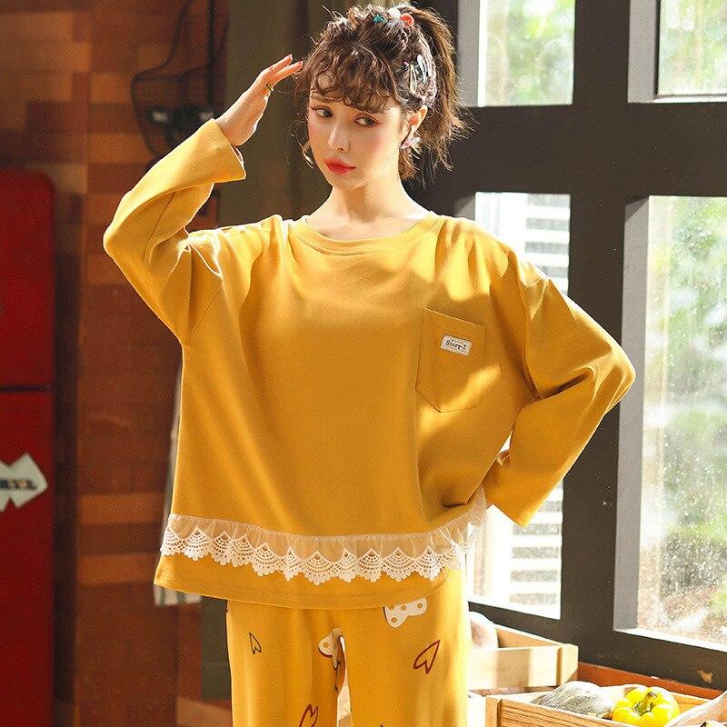 Conjunto de pijama de algodón JULYS SONG de 2 piezas para mujer, estampado romántico, bonito pijama amarillo de encaje para otoño e invierno, ropa de dormir de manga larga para el hogar