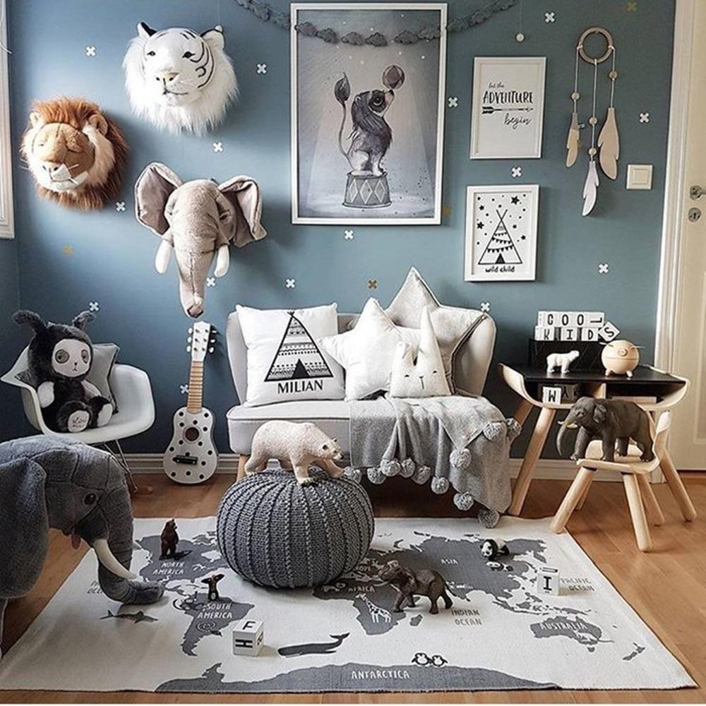 Alfombra de juego para bebés, alfombra para niños con mapa del mundo, alfombra para gatear, rompecabezas de pista de coches, juguetes, Alfombra de aventura infantil, decoración de habitación para niños