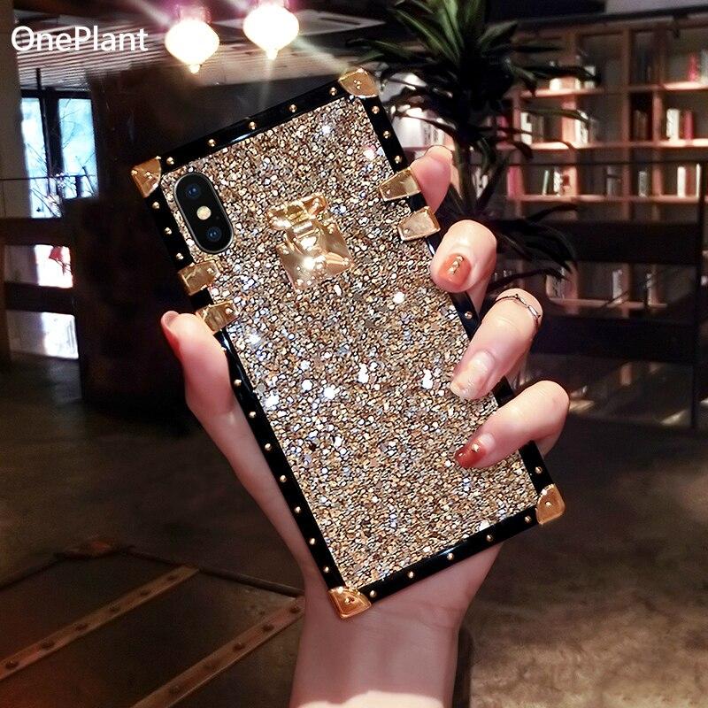 De moda brillo cuadrado de sílice funda de gel para teléfono para iPhone 11 Pro Max brillante Bling para iPhone 6 6s 7 7 8 Plus XS Max XR X