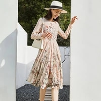 high quality 100 silk dress women casual style floral print o neck long sleeve lightweight fabric dress new fashion