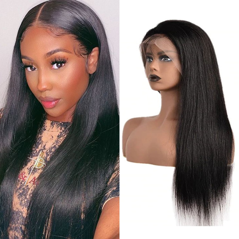 13x4 Lace Front Human Hair Wigs for WomenBrazilian Straight Lace Frontal Remy  Wig with Baby Hair Pre Plucked Natural Hairline maxglam lace front human hair wigs for black women straight pre plucked with baby hair brazilian remy hair natural color