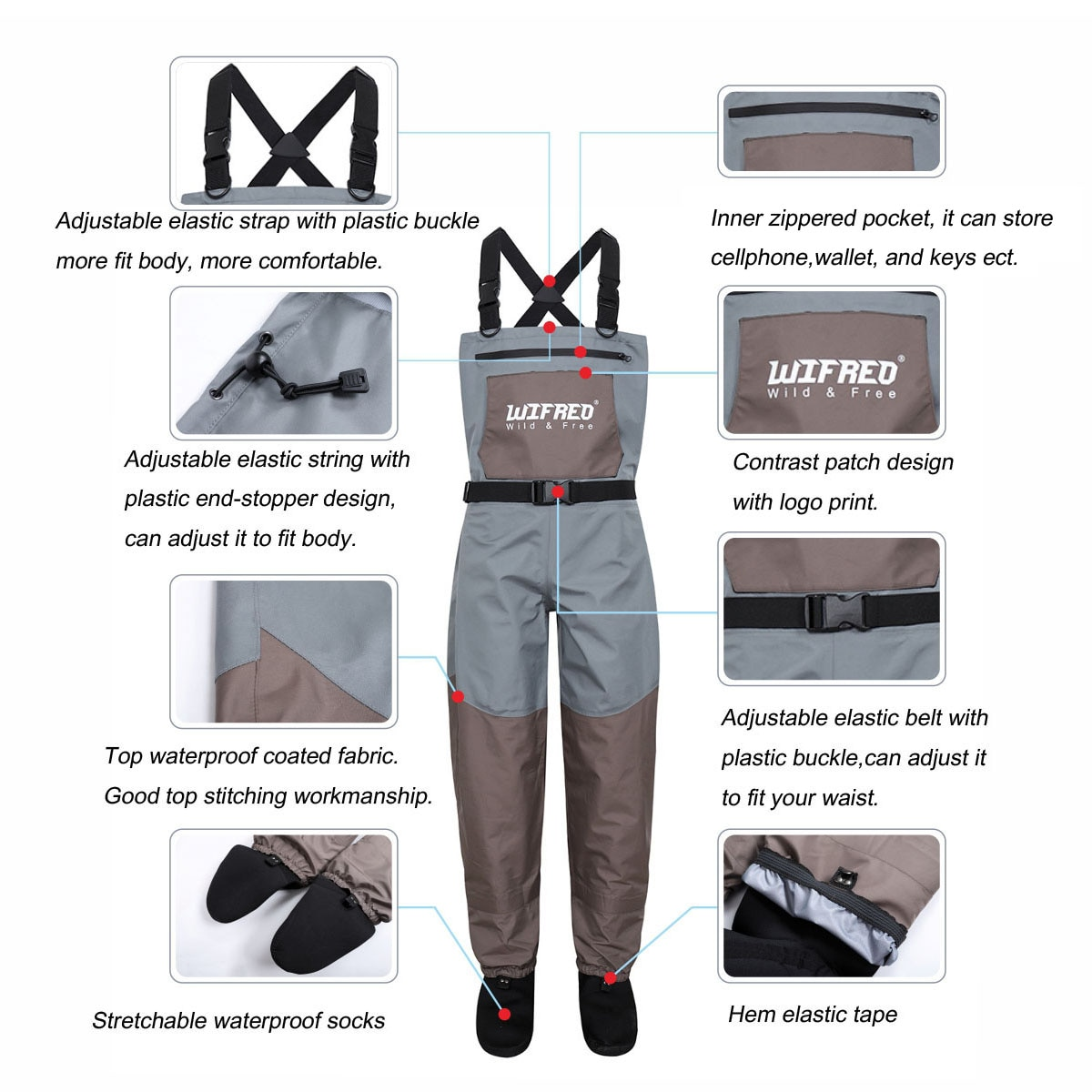1PCS Chest Waders 3 Ply Breathable Waterproof Fishing Wading Pants Waders Overall Clothes For Men and Women Size S/M/L/XL/XXL enlarge