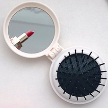 Hot sale 1Pcs Hair Comb Folding Massage Hair Brush Round 8 Colors Mini Airbag Comb With Mirror Trave