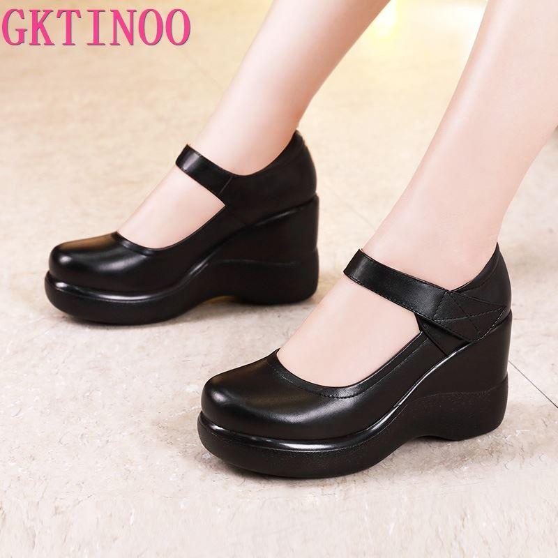 GKTINOO-حذاء ماري جين بكعب ويدج للنساء ، حذاء بكعب ويدج بمقدمة دائرية ، جلد سميك ، موضة ، مقاس كبير