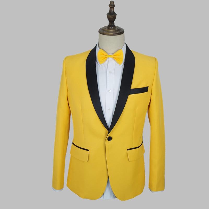 Корейская одежда Rave, мужской костюм, желтое пальто с галстуком-бабочкой, сценическая одежда для праздника, костюм певицы, ночного клуба VDB806