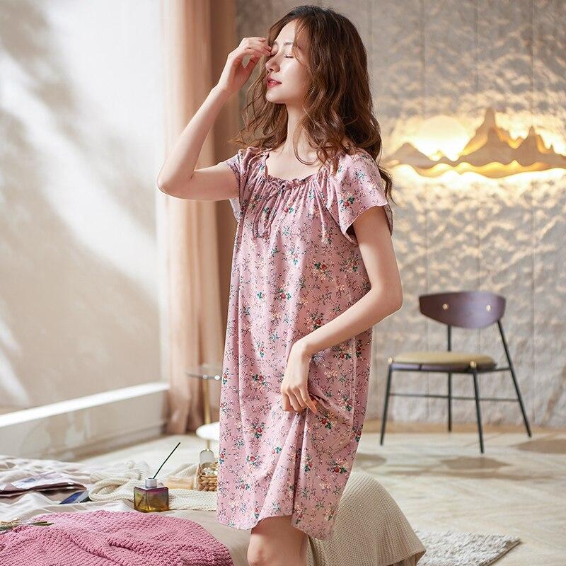 Elegant Floral Female Sleepshirts Short Sleeve Stretch Cotton Sleepwear Summer Nightgowns Home Wear