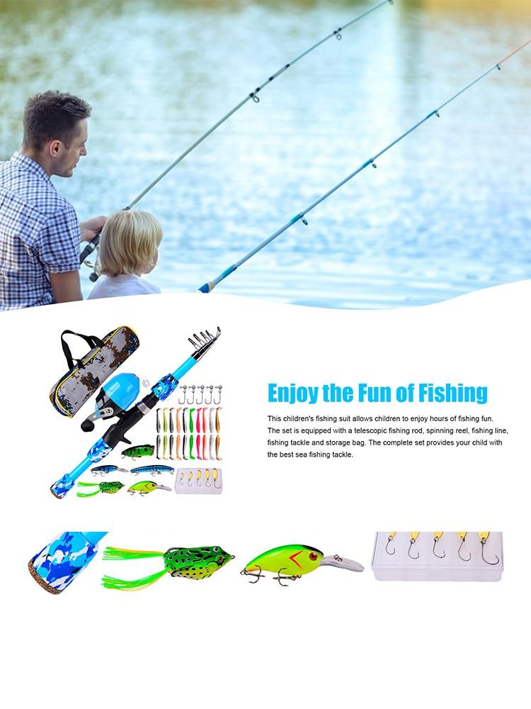 Children's Sea Fishing Rod Set Beginner Fishing Gear Set With Reel And Bait Portable Fishing Rod Bag