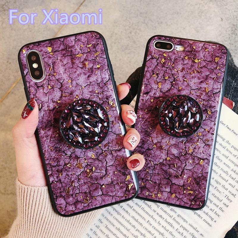 Funda de silicona con purpurina de mármol y diamante de lujo para Xiaomi Mi8 9 SE CC9E CC9 Pro, funda de anillo para Redmi 6 7A 8A Note 8T 8 7 5 6 pro