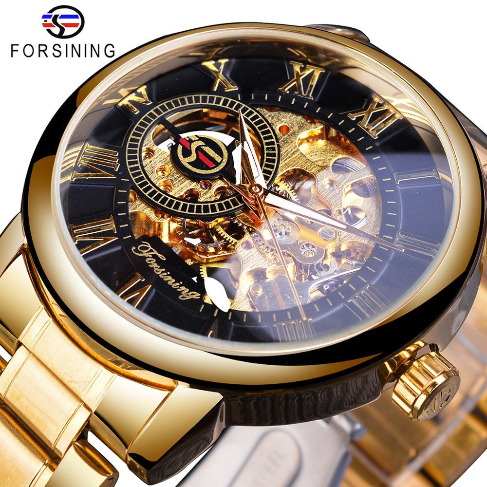 Reloj Mecánico Forsining a estrenar esqueleto dorado con correa de acero inoxidable para hombre reloj militar deportivo